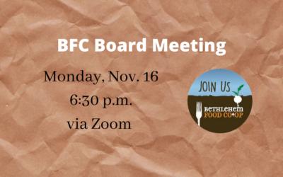 Nov. 16: November Board Meeting