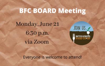 Monday, June 21: June Open Board Meeting